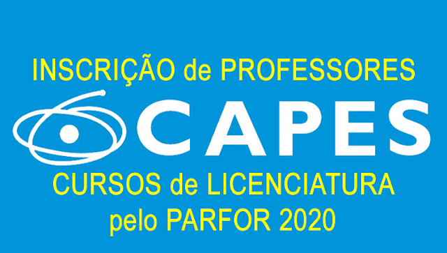 Inscrições de professores para cursos de Licenciatura no PARFOR 2020
