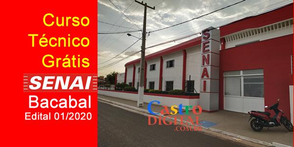 Seletivo 2020 para curso técnico grátis no SENAI de Bacabal – Edital 01/2020
