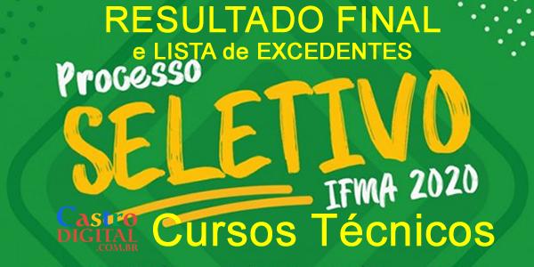Resultado final do seletivo 2020 do IFMA para cursos técnicos e listas de aprovados e excedentes