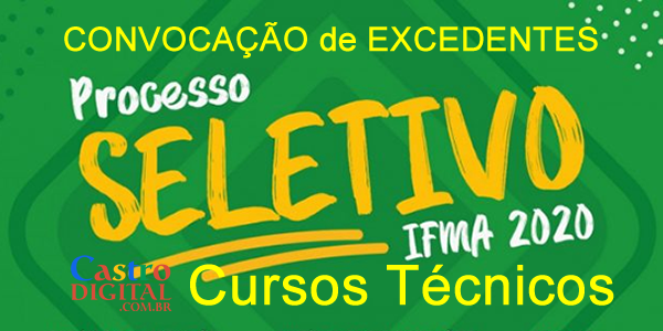 Convocações de excedentes do seletivo 2020 do IFMA para cursos técnicos