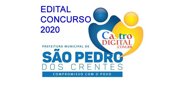 EDITAL do concurso 2020 da Prefeitura de SÃO PEDRO dos CRENTES – MA