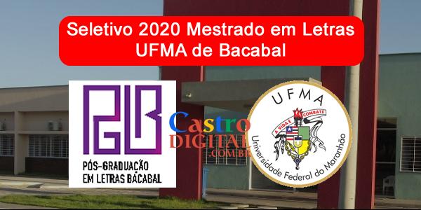 Edital 2020 do Mestrado em Letras na UFMA de Bacabal