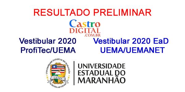 Resultado preliminar dos Vestibulares 2020 ProfiTec e EaD UEMA/UEMANET