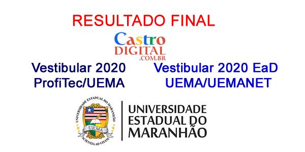 Resultado final dos Vestibulares 2020 ProfiTec e EaD UEMA/UEMANET