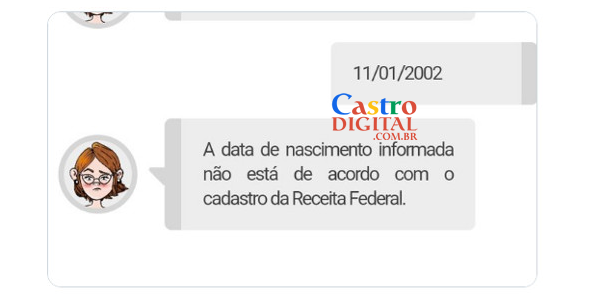 Problema no pedido de isenção do ENEM 2020: a data de nascimento informada não está de acordo com o cadastro da Receita Federal