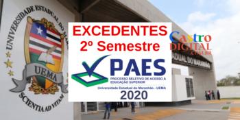 Convocação de excedentes do vestibular PAES 2020 – UEMA e UEMASUL para matrícula no segundo semestre 2020.2