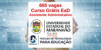 UEMA abre inscrição em 665 vagas em curso EaD grátis de Assistente Administrativo – Edital UEMA/UEMANET 21/2020