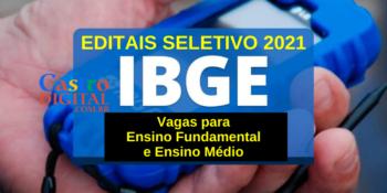 Editais do seletivo 2021 do IBGE para nível fundamental e médio – Recenseador e Agente Censitário