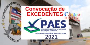 Convocação de excedentes do vestibular PAES 2021 – UEMA e UEMASUL para matrícula no primeiro semestre 2021.1
